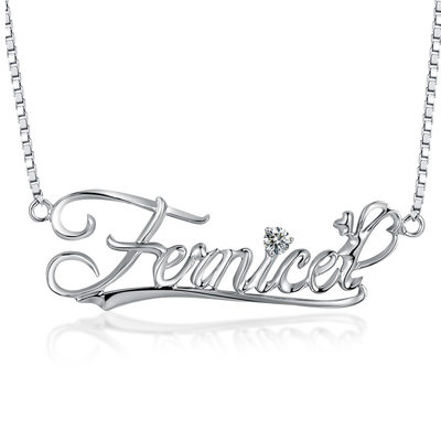 Personalized Ladies' Hottest With Round Cubic Zirconia Name Necklaces Necklaces For Friends/For Couple