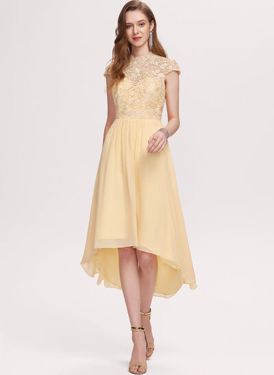 A-Line Scoop Neck Asymmetrical Chiffon Prom Dresses