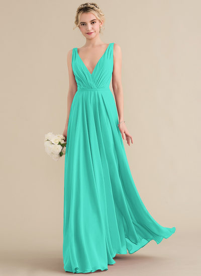 1cdcbbdab95e A-Line/Princess V-neck Floor-Length Chiffon Bridesmaid Dress With Ruffle