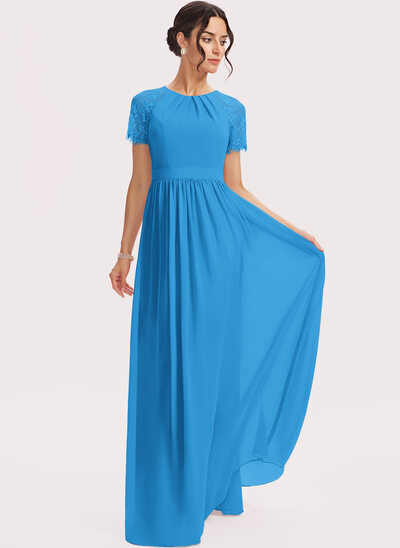 A-Line Floor-Length Bridesmaid Dress With Lace
