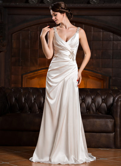 Trumpet/Mermaid V-neck Court Train Charmeuse Wedding Dress With Ruffle Lace Beading Sequins