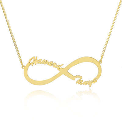 Christmas Gifts For Her - Custom 18k Gold Plated Silver Infinity Two Name Necklace Infinity Name Necklace