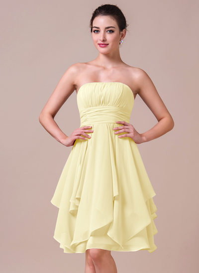 A-Line Strapless Knee-Length Chiffon Bridesmaid Dress With Cascading Ruffles