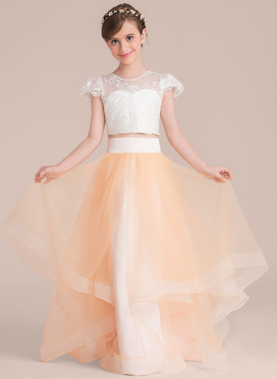 Ball-Gown/Princess Scoop Neck Floor-Length Tulle Junior Bridesmaid Dress