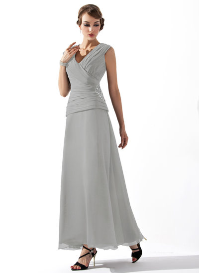 A-Line/Princess V-neck Ankle-Length Chiffon Mother of the Bride Dress With Ruffle Beading