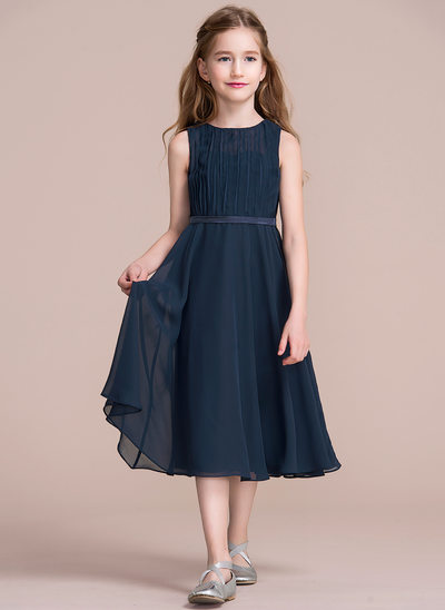 A-Line/Princess Scoop Neck Tea-Length Chiffon Junior Bridesmaid Dress With Ruffle