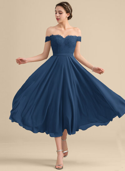 A-Line Off-the-Shoulder Tea-Length Chiffon Lace Cocktail Dress With Beading Sequins