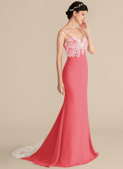 Trumpet/Mermaid Sweetheart Sweep Train Chiffon Lace Prom Dresses