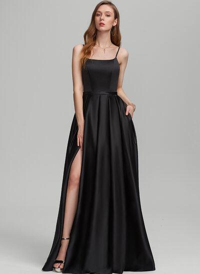 A-Line Square Neckline Floor-Length Satin Evening Dress With Split Front Pockets