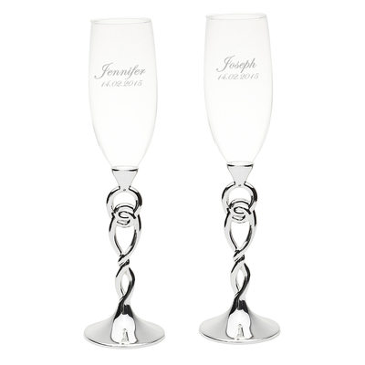 Groom Gifts - Personalized Glass Champagne Flutes