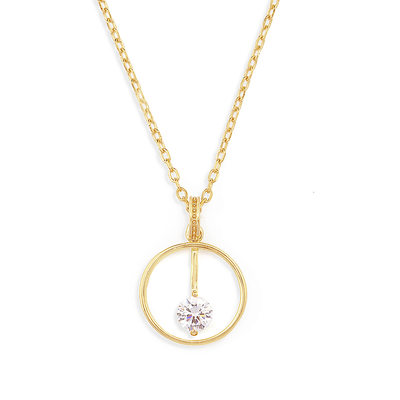 18k Gold Plated Silver Multiple Pendant Necklace With Diamond - Christmas Gifts