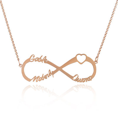Custom 18k Rose Gold Plated Silver Infinity Three Name Necklace Infinity Name Necklace With Heart - Valentines Gifts