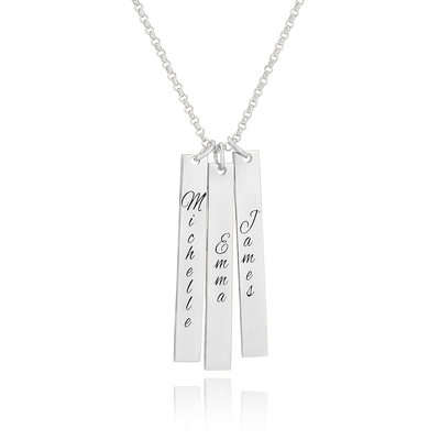 Custom Sterling Silver Engraving/Engraved Family Three Bar Necklace - Birthday Gifts Mother's Day Gifts