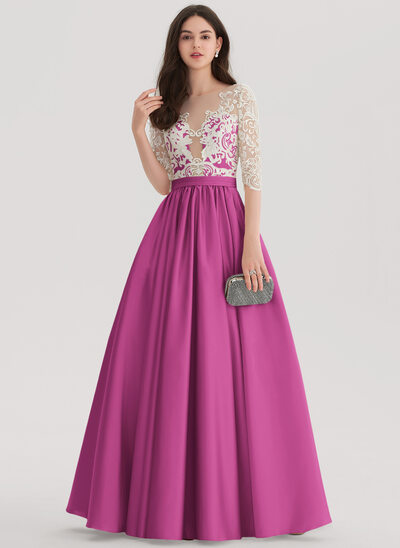 Ball-Gown Scoop Neck Floor-Length Satin Prom Dresses