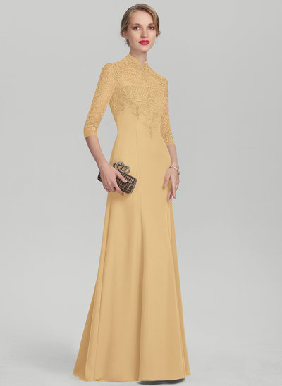 Trumpet/Mermaid High Neck Floor-Length Chiffon Lace Evening Dress With Sequins