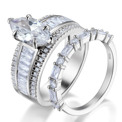 Marquise Cut 925 Silver Bridal Sets