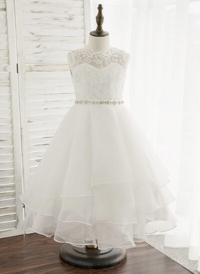 f8ab53c99 A-Line Tea-length Flower Girl Dress - Organza/Lace Sleeveless Scoop Neck