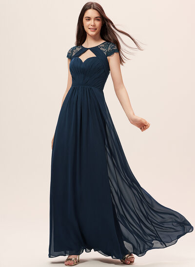 A-Line Scoop Neck Floor-Length Chiffon Lace Bridesmaid Dress With Ruffle