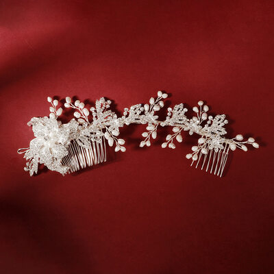 Ladies Elegant Rhinestone/Alloy/Imitation Pearls Combs & Barrettes With Rhinestone (Sold in single piece)