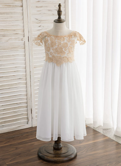 A-Line/Princess Tea-length Flower Girl Dress - Chiffon/Lace Sleeveless Scoop Neck With Lace/Sash