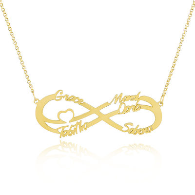 Custom 18k Gold Plated Silver Infinity Family Five Name Necklace With Heart