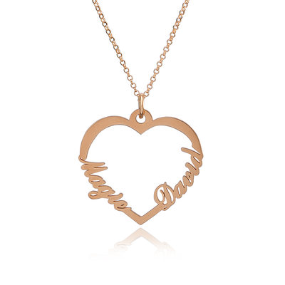 [Free Shipping]Custom 18k Rose Gold Plated Silver Two Name Necklace Heart Necklace (288211316)