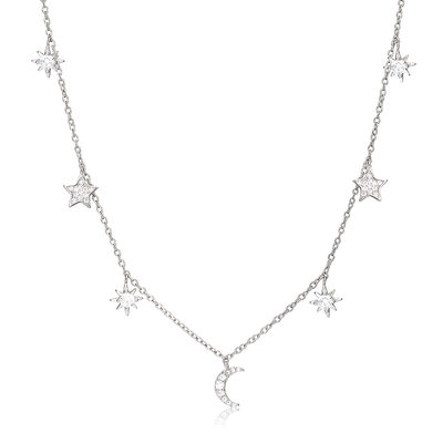 Sterling Silver Moon Star Choker Necklace With Moon Star - Birthday Gifts Mother's Day Gifts