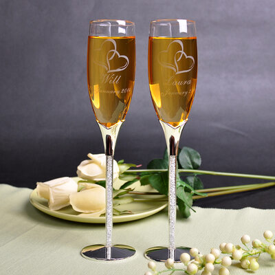 Groom Gifts - Personalized Glass Zinc Alloy Champagne Flutes