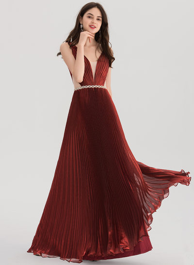 A-Line/Princess V-neck Floor-Length voile Prom Dress With Beading Pleated