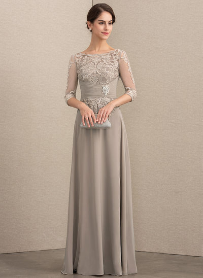 A-Line/Princess Scoop Neck Floor-Length Chiffon Lace Mother of the Bride Dress With Crystal Brooch Sequins