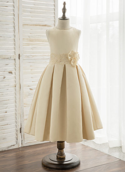 A-Line/Princess Tea-length Flower Girl Dress - Satin/Lace Sleeveless Scoop Neck With Flower(s)