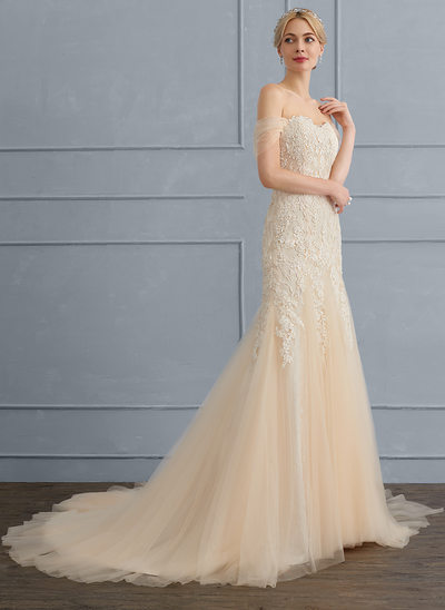 Trumpet/Mermaid Sweetheart Sweep Train Tulle Lace Wedding Dress