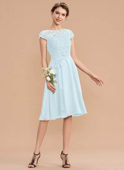 A-Line Scoop Neck Knee-Length Chiffon Lace Bridesmaid Dress With Sequins Bow(s)