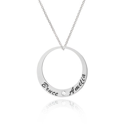 Custom Sterling Silver Engraving/Engraved Circle Two Name Necklace With Diamond