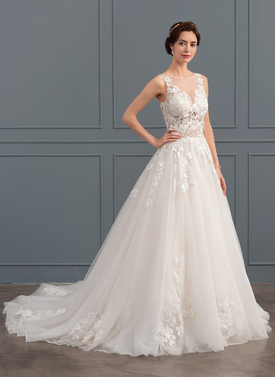 Ball Gown Scoop Neck Chapel Train Tulle Wedding Dress