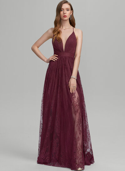 A-Line V-neck Floor-Length Lace Prom Dresses With Split Front