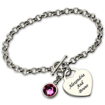 Custom Silver Link & Chain Chain Bracelets Engraved Bracelets With Birthstone