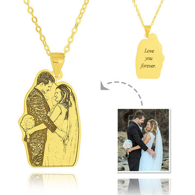 Custom 18k Gold Plated Silver Engraving/Engraved Tag Black And White Photo Engraved Engraved Necklace Photo Necklace - Birthday Gifts