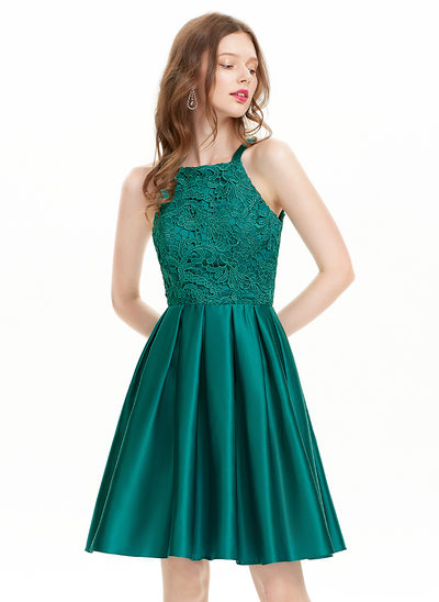 A-Line Square Neckline Knee-Length Satin Homecoming Dress
