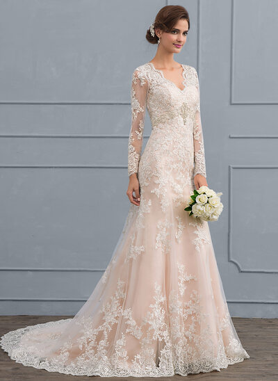 Trumpet Mermaid V Neck Court Train Tulle Lace Wedding Dress