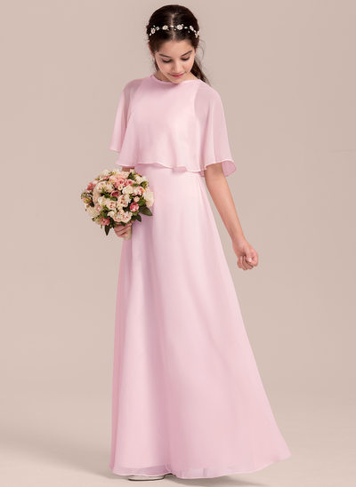 4f06f146 A-Line/Princess Scoop Neck Floor-Length Chiffon Junior Bridesmaid Dress
