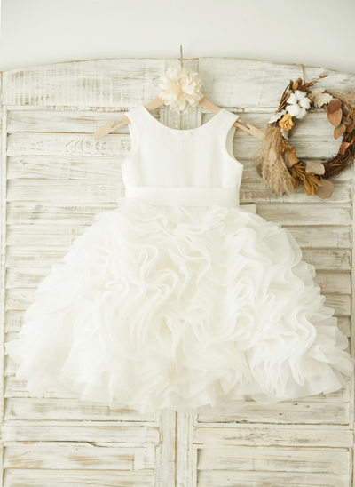 A-Line Knee-length Flower Girl Dress - Organza/Satin Sleeveless Scoop Neck With Bow(s)