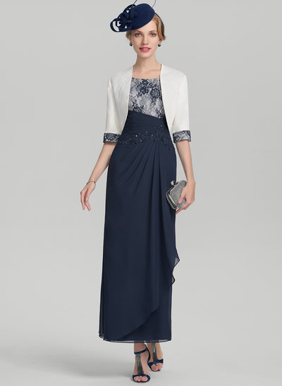 Sheath/Column Scoop Neck Ankle-Length Chiffon Lace Mother of the Bride Dress With Beading Sequins Cascading Ruffles