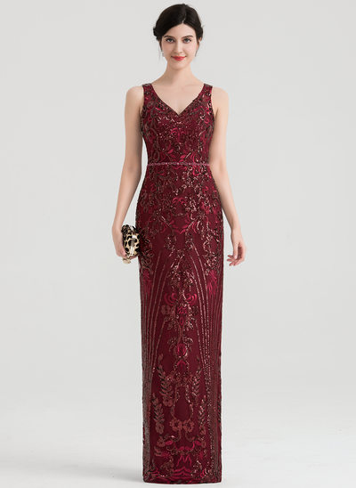Sheath/Column V-neck Floor-Length Sequined Evening Dress With Beading