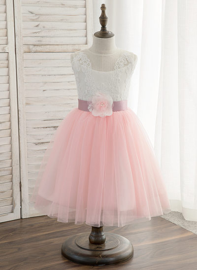 A-Line/Princess Knee-length Flower Girl Dress - Tulle/Lace Sleeveless Scoop Neck With Sash