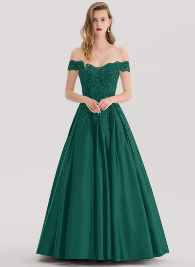 Ballkjole/Princess Off-the-Shoulder Gulvlengde Satin Ballkjole med Profilering paljetter