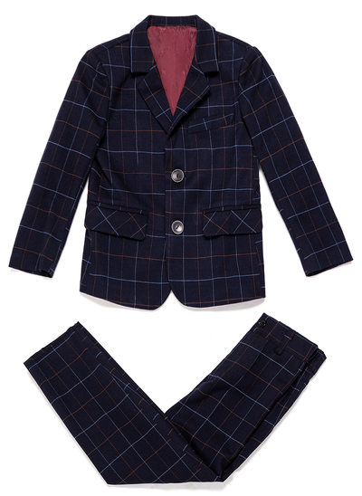 Boys Plaid Ring Bearer Suits With Jacket Pants