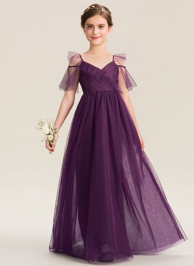 A-Line V-neck Floor-Length Tulle Junior Bridesmaid Dress With Cascading Ruffles