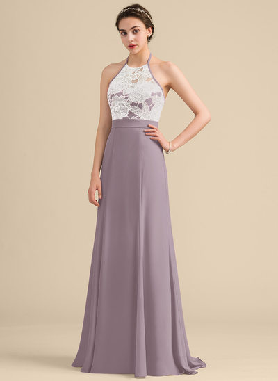 A-Line/Princess Halter Sweep Train Chiffon Sequined Bridesmaid Dress With Bow(s)