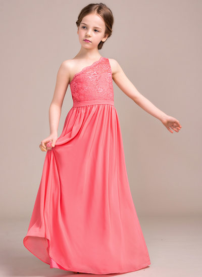 A-Line/Princess One-Shoulder Floor-Length Chiffon Lace Junior Bridesmaid Dress